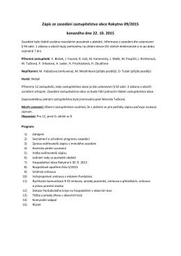 Zápis ze zasedání zastupitelstva obce Rokytno 09
