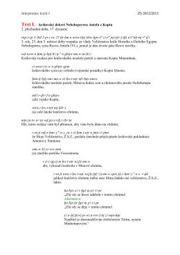 Interpretace textů I ZS 2012/2013 Text L – královský dekret