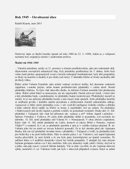 Rok 1945 – Osvobození obce
