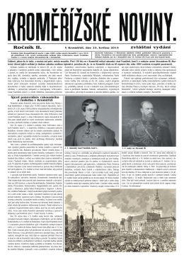 Kroměřížské noviny císař a car