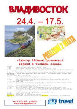 vlakový 24denní poznávací zájezd k Tichému oceánu
