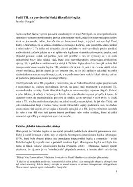 Podíl TIL na posvětovění české filosofické logiky