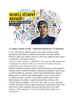 12. Nejdéle vězněný novinář – Muhammad Bekzhanov z