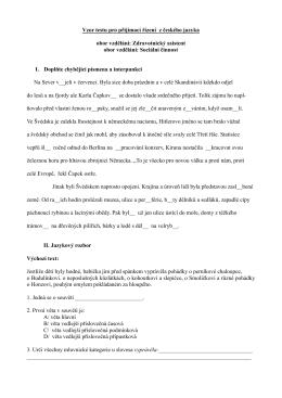 Vzor testu pro přijímací řízení z českého jazyka obor vzdělání
