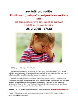 seminář pro rodiče 26.2.2015 17:30