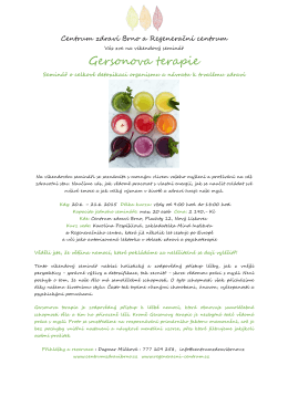 Gersonova terapie - Centrum zdraví Olomouc