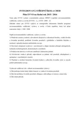Plán EVVO 2015/2016 - Integrovaná střední škola Cheb