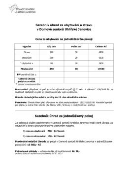 Ceník poskytovaných služeb - Domov seniorů Uhlířské Janovice