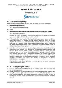 FINANČNÍ ŘÁD SPOLKU KHnet.info, z. s. Čl. I