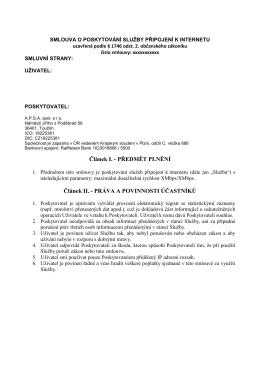 návrh smlouvy - APSA spol. s ro