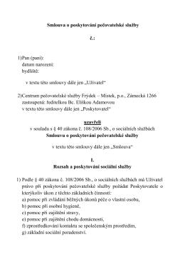 Smlouva o poskytování pečovatelské služby č.