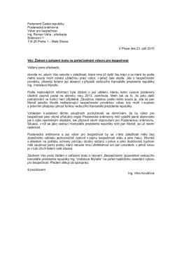 Dopis poslankyně TOP 09 Věry Kovářové předsedovi výboru pro