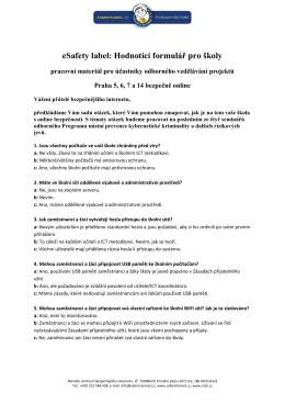 eSafety label: Hodnotící formulář pro školy
