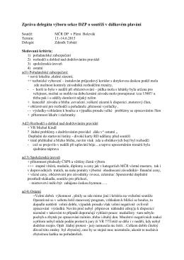 Zpráva delegáta výboru sekce DZP Plzen MCR