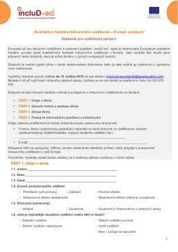 """""""Kvalitativní hlediska inkluzívního vzdělávání v Evropě: průzkum"""