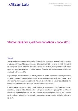 Studie: zakázky s jedinou nabídkou v roce 2015