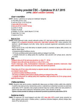 Změny pravidel ČSC pro cyklokros k 1.7. 2015
