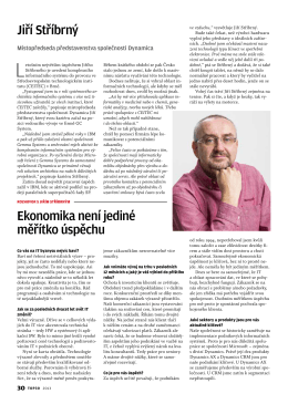 Jiří Stříbrný Ekonomika není jediné měřítko úspěchu