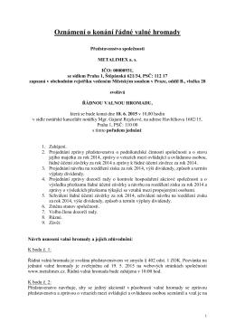 Oznámení o konání valné hromady Metalimex a. s.