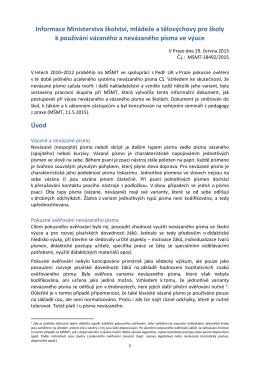 Informace Ministerstva školství, mládeže a tělovýchovy pro školy k