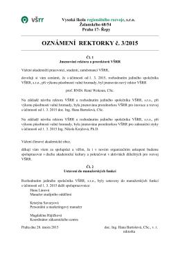 OZNÁMENÍ REKTORKY č. 3/2015