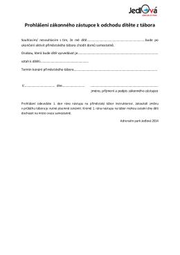 Prohlášení zákonného zástupce k odchodu dítěte z tábora
