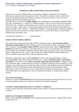 Informace pro zákonného zástupce dítěte