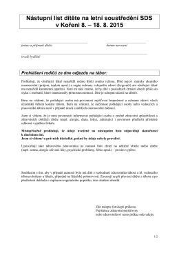 Nástupní list dítěte na letní soustředění SDS v Kořeni 8. – 18. 8. 2015