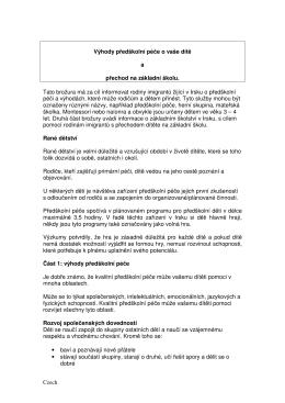 Czech Výhody předškolní péče o vaše dítě a přechod na základní