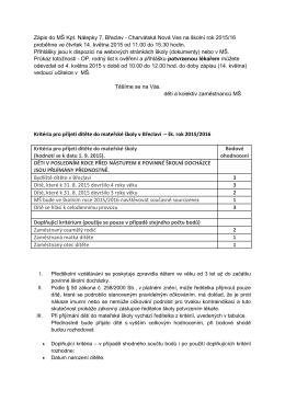Kritéria pro přijetí dítěte do mateřské školy v Břeclavi – šk. rok 2015
