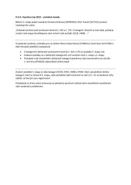 H.S.H. Vysočina Cup 2015 – protokol závodu Během 3. etapy podali
