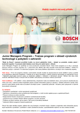 Junior Managers Program – Trainee program v oblasti výrobních