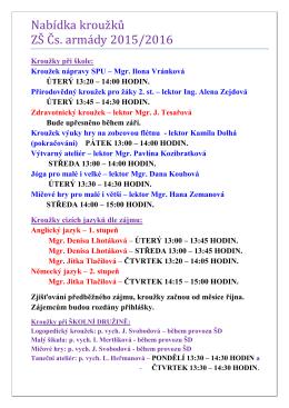 Nabídka kroužků pro školní rok 2015/2016