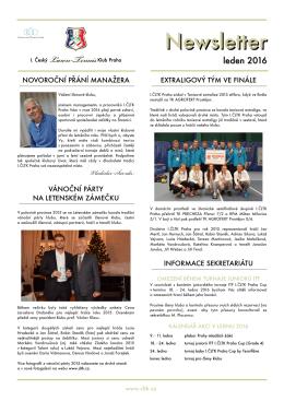 Newsletter - leden 2016