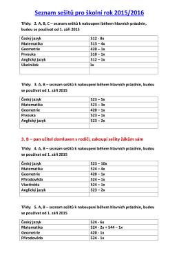 Seznam sešitů pro školní rok 2015/2016
