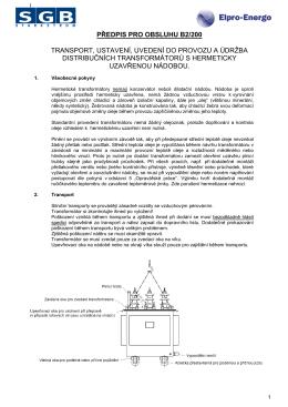Transformátory SGB - Návod k obsluze - Elpro