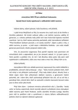 Projev Jiří Šitler