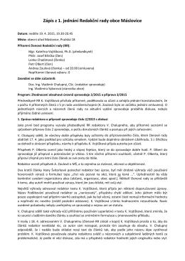 Zápis z 1. jednání Redakční rady obce Máslovice