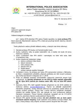 Dokument týkající se vydání nových členských průkazů IPA sekce a