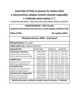 Celá třída (2 PEA) se dostaví 25. května 2015 k slavnostnímu