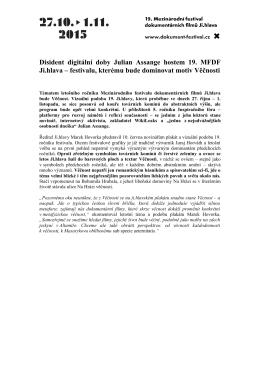 Disident digitální doby Julian Assange hostem 19. MFDF Ji.hlava