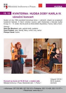 KVINTERNA: HUDBA DOBY KARLA IV. vánoční koncert