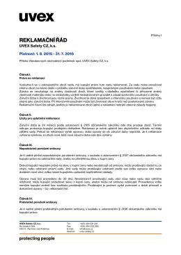 Reklamační řád UVEX Safety CZ k.s. 2015