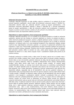 REKLAMAČNÍ ŘÁD pro salony GALARD (Platný pro Galard Brno