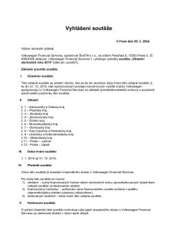 Vyhlášení soutěže - Volkswagen Financial Services