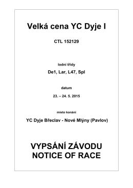 Velká cena YC Dyje I 2015