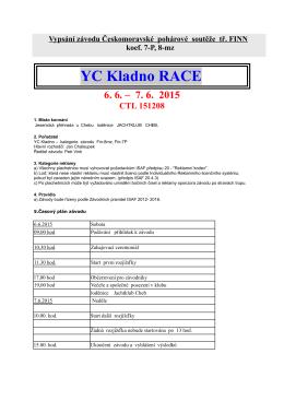 Vypsání závodu YC Kladno Race Jesenice 2015