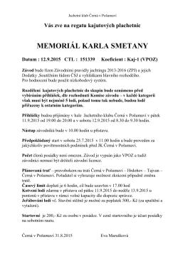 Memoriál Karla Smetany-final - Jachetní klub Černá v Pošumaví