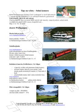 Tipy na výlety – Solná komora Jezero Wolfgangsee
