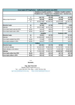 Cena tepla CZT Kopřivnice - kalkulace konečné ceny 2014